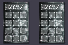 Dwa kalendarza z abstrakcjonistycznym bokeh tłem w 2017 rok Obraz Stock