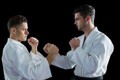 Dwa karate wojownika ćwiczy karate obrazy royalty free