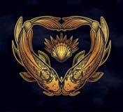 Dwa karpia w formie serca, symbol harmonia Odizolowywaj?ca wektorowa ilustracja Duchowa sztuka dla tatua?u ilustracji