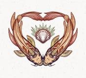 Dwa karpia w formie serca, symbol harmonia Odizolowywaj?ca wektorowa ilustracja Duchowa sztuka dla tatua?u ilustracja wektor