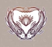Dwa karpia w formie serca, symbol harmonia Odizolowywaj?ca wektorowa ilustracja Duchowa sztuka dla tatua?u royalty ilustracja