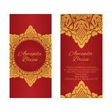Dwa kartka z pozdrowieniami w wschodu stylu na czerwonym tle Zdjęcia Stock