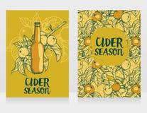 Dwa karty dla cydru przyprawiają z piękną gałąź jabłoń i butelka cydr ilustracji