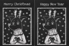 Dwa karty wygodny psi jest ubranym pulower dla sezonu wakacyjnego Fotografia Royalty Free