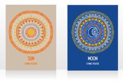 Dwa karty z gypsy projektują z słońca i księżyc symbolami ilustracji