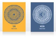 Dwa karty z gypsy projektują z słońca i księżyc symbolami ilustracja wektor
