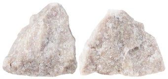 Dwa kawałka dolomit kopaliny kamień odizolowywający zdjęcie royalty free