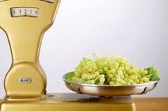 Dwa kilo muszkatołowi winogrona na rocznik równowadze Obraz Royalty Free