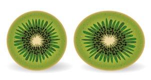 Dwa kiwi w sekci, round i owalny Zdjęcia Royalty Free