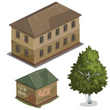Dwa klasyków dom i jeden zielony drzewo, wektorowy miasto ilustracja wektor