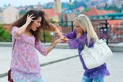 Dwa kobiet walka dwa Zdjęcia Royalty Free