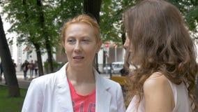 Dwa kobieta przyjaciół rozmowa w parku Piękny lato słoneczny dzień Zakończenie zbiory