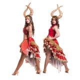 Dwa kobieta tancerza z rogami pojedynczy białe tło Zdjęcie Royalty Free