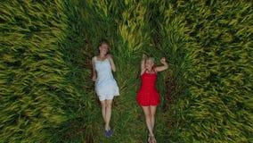 Dwa kobieta z blondynka włosy w czerwonej i błękitnej sukni kłama w polu z banatką zbiory