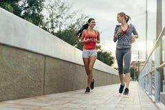 Dwa kobiety ćwiczy jogging fotografia royalty free
