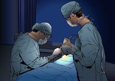 Dwa kobiety lekarki w sali operacyjnej royalty ilustracja