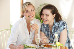 Dwa kobiety Ma posiłek W kawiarni Obrazy Stock