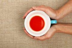Dwa kobiety ręki trzyma filiżankę czarna czerwona herbata obrazy stock