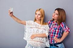 Dwa kobiety robi selfie fotografii zdjęcie stock