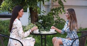 Dwa kobiety szczęśliwy przyjaciel cieszy się pijący kawę w plenerowym cukiernianym średnim zawodnik bez szans zdjęcie wideo