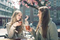 Dwa kobiety w kawiarni Zdjęcia Stock