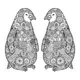 Dwa kochający pingwin Zen gmatwaniny wektor Zentangle Antarctica czarny i biały ilustracji