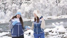 Dwa kochanek dziewczyny trzyma each - inny wręcza chodzi blisko rzeki w lasu Dwa śnieżnych siostrach w identycznym zdjęcie wideo