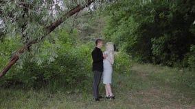 Dwa kochanka siedzą pod drzewem w pogodnym pogodowym spojrzeniu przy each inny i one uśmiechają się zbiory