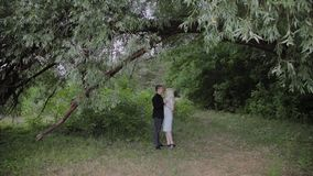 Dwa kochanka siedzą pod drzewem w pogodnym pogodowym spojrzeniu przy each inny i one uśmiechają się zdjęcie wideo