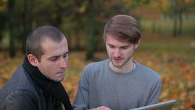 Dwa kolegi dyskutuje kreatywnie biznesowych pomysły siedzi na trawy tle spadać opuszczają, dolly strzał zbiory wideo