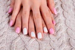 Dwa kolorów manicure Fotografia Stock