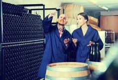 Dwa koncentrowali wytwórnia win pracowników w starzeć się sekcję fabryka Zdjęcia Royalty Free