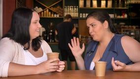 Dwa korpulentnej caucasian dziewczyny ma rozmowy hoding kawę w kawiarni na stole zdjęcie wideo