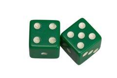 Dwa kostka do gry pokazuje cztery i pięć Zdjęcia Stock