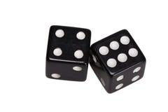 Dwa kostka do gry pokazuje cztery i sześć Obraz Stock