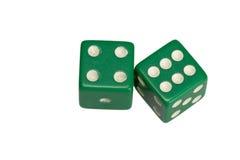 Dwa kostka do gry pokazuje cztery i sześć Zdjęcia Royalty Free