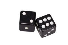 Dwa kostka do gry pokazuje dwa i sześć Obraz Stock