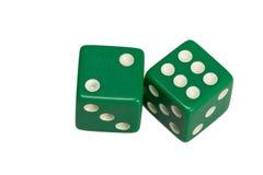 Dwa kostka do gry pokazuje dwa i sześć Obrazy Royalty Free