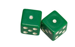 Dwa kostka do gry pokazuje dwa jeden Zdjęcie Royalty Free