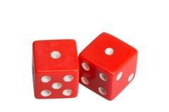 Dwa kostka do gry pokazuje dwa jeden Obrazy Stock