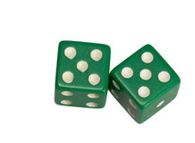 Dwa kostka do gry pokazuje dwa pięć Fotografia Royalty Free