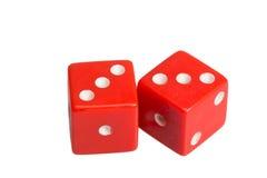 Dwa kostka do gry pokazuje dwa trójki Obraz Stock
