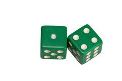 Dwa kostka do gry pokazuje jeden i cztery Fotografia Royalty Free