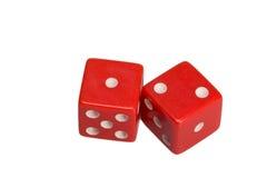 Dwa kostka do gry pokazuje jeden i dwa Zdjęcia Royalty Free