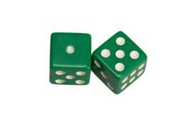 Dwa kostka do gry pokazuje jeden i pięć Obrazy Royalty Free