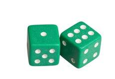 Dwa kostka do gry pokazuje jeden i sześć Zdjęcie Stock