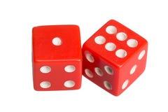 Dwa kostka do gry pokazuje jeden i sześć Zdjęcie Royalty Free