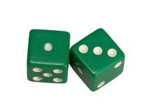 Dwa kostka do gry pokazuje jeden i trzy Obraz Stock