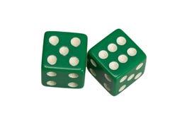 Dwa kostka do gry pokazuje pięć i sześć Fotografia Royalty Free