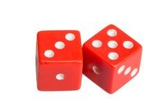 Dwa kostka do gry pokazuje trzy i pięć Zdjęcia Stock